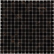 Mozaiektegel Amsterdam Black - Gold Mix Soft Grain Glass 322x322