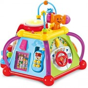 OliaDesign Colorful Musical Cube Activity Cube Play Center with 15 Functions & Skills
