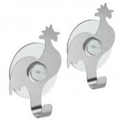 Metaltex   Tomado Set van 2 RVS haakjes haan met zuignap