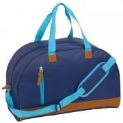 Merkloos Donkerblauwe weekendtas met kunstleer 50 cm