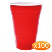 """""""American Red Plastic Party Cups - 425ml (100 Pack)"""""""
