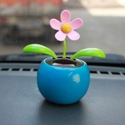 Flower Solar Powered Dancing Swinging Animated Dancer Toy Car Decoration New (Blue)