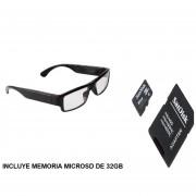 Cámara Oculta En Forma De Lentes Hipster 720P, Graba Audio Y Video.- Incluye Memoria MicroSd De 32GB