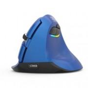 Мишка Delux M618 Mini, оптична(2400dpi), безжична (Bluetooth и 2.4GHz), USB C, вертикална, синя