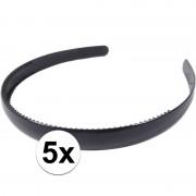 Geen 5x Zwarte dames diadeem/haarband 1,5 cm breed