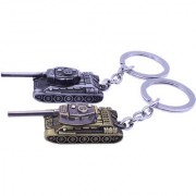 KD COLLECTIONS Tank Keychain Metal Tank Keyring Tank Keychain Tank Key Chains Tank Keychain Metal-Combo-Pack of 2 Keychains-Antique Golden Silver
