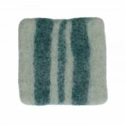 Dille&Kamille Dessous de verre, feutrine, vert foncé à rayures, 10 x 10 cm