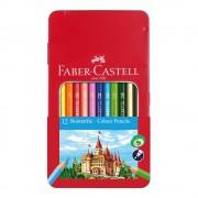 Creioane colorate 12 culori/set FABER-CASTELL cutie metal FC115801