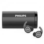 Безжични слушалки Philips ActionFit TAST702BK, водоустойчивост IPX5, калъф за зареждане с UV почистване, черни