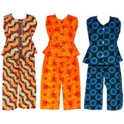 Wajbee Sublime Girls Cotton Night Suit Set of 3