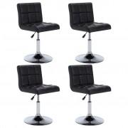 vidaXL Въртящи се трапезни столове, 4 бр, черни, изкуствена кожа
