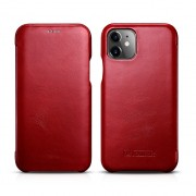 ICARER Genuine Leather Folio Flip Phone Case for Apple iPhone 11 6.1 inch - Red