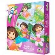 Puzzle 4 in 1 Dora the Explorer - Dora la joaca, 134 piese