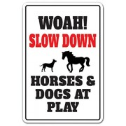 Slow Down Horses & Dogs At Play Novelty Sign | Indoor/Outdoor | Funny Home Décor for Garages, Living Rooms, Bedroom, Offices | SignMission Animal Joke Speed Limit Driving Sign Wall Plaque Decoration