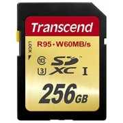 Transcend TS256GSDU3 256 GB SDXC, Class 10/UHS-III, 95 MB/s Read, 60 MB/s Write, 1 Card