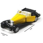 Emob 132 Die Cast Metal Master Classic Lagonda Pull Back Vintage Car for Kids (Yellow)