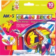 Üvegfóliafesték készlet, AMOS, 10 különböző szín (HPR151)
