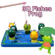 Fishes Frog Basic Educational Development Wooden Magnetic Bath Fishing Travel Table Game, Birthday Gift Toy for age 3 4 5 Years Old Kid Children Baby Toddler Boy Magnet Toy