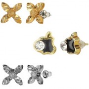 GoldNera Antique Silver Stud Earrings Solitaire Leaf Flowery Designs Set of 3 For Girls (STYLE 5)