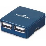 Hub USB Manhattan Micro blue 4 porturi