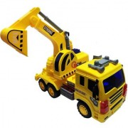 Emob Big Size Friction Powered Vehicle Construction Excavator Truck Toy with Light and Sound (Multicolor)
