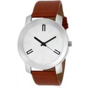 MF White & Brown Formal Analog Leather Quartz Round Watch For Men