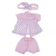Street27 High Quality and Adorable Dot Pattern Baby Doll Clothes Two-Piece Outfits with Headband and Nipple for 43cm Zapf Baby Dolls