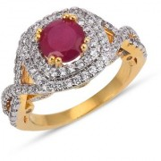 Tistabene Retails Contemporary Designer Two Tone Plated Red Stone Trendy Casual Ring For Women and Girls (RI-0819)