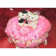 Beautiful Pink Bed Hanging Jhoola with Love Couple Teddy Bears
