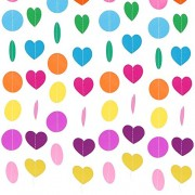 Lictin 3 Packs Colorful Paper Garland Banner, 2 4M Round, 1 Pack Heart Assorted Colors Dots Hanging Decorations Perfect for Wedding Birthday Party Baby Shower Holiday