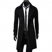 Hombre De Slim Fit Doble Botón Breasted Coat (negro)