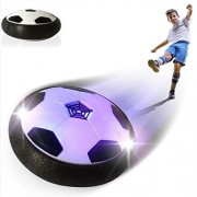 Acrim Kids Toys Air Power Soccer Ball, Powered Electric Training Football Disc with LED Lights for Indoors & Outdoors Sports Toys with Soft Padded Rubber Foam Protector (Black)
