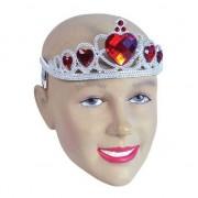 Geen Zilveren kroon met rode hartjes stenen