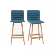 Miliboo Tabouret de bar design bois et bleu canard 65 cm (lot de 2) EMMA