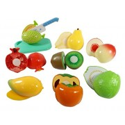 Toyshine Realistic Sliceable 8 Pcs Fruits Cutting Play Toy Set, Can Be Cut in 2 Parts