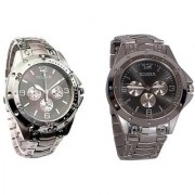 Rosra Round Dial Silver Metal Strap Quartz Watch for Men (Combo of 2)