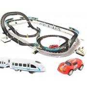 2-az-1-ben versenypálya szett, autókkal, vonattal és led-es lámpákkal