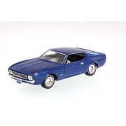 1971 Ford Mustang Sportsroof, Blue - Motormax Premium American 73327 - 1/24 Scale Diecast Model Car
