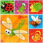 PROW 9 Pcs Wooden Cube Block Jigsaw Puzzles, Insect World Pattern Blocks Puzzle Including Ladybug Bee Butterfly Locust Snail Dragonfly for 3 Year and Up Child Perfect Christmas Gift