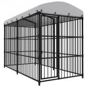 vidaXL Външна клетка за кучета с покрив, 300x150x210 см