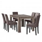 [en.casa]® Étkezőasztal 140 x 90 cm 6 műbőr étkezőszék design konyhai asztal székkel Nora tölgy/sötétbarna-barna Garnitúra