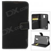 IKKI Protective PU cuero Flip-abierto caso w / Stand / tarjeta ranura para Samsung Galaxy S5 - Negro