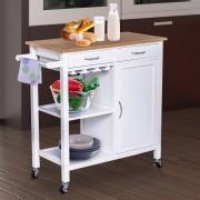 4, Farben HOMCOM® Servierwagen Küchenwagen Rollwagen Rollbar mit 2 Schubladen Pflegeleicht Weiß