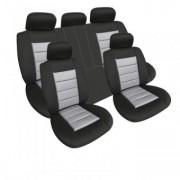 Set huse auto 11 piese ALM Lux material textil premium ,burete 8mm fractionate culoare Negru cu Gri