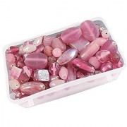 eshoppee pink color glass beads mixing 100 gm 5-15mm approx 120 pcs for jewellery art and craft making diy kit