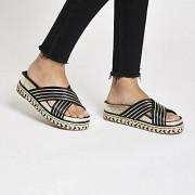 River Island Womens Black cross strap mule sandals (6)