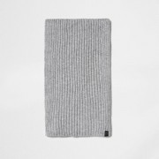 River Island Mens Light Grey ribbed knit scarf