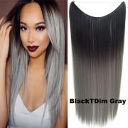 Flip in vlasy - 55 cm dlouhý pás vlasů - odstín Black T GrayDim - Světové Zboží