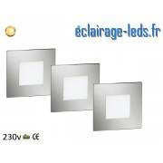 Kit support LED Chrome encastrable Sol et Mur blanc chaud 1W 230v ref sms-07