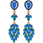 Oviya Gold Plated Marquise shaped multicolour Crystals Dangler Earrings for girls and women ER2109534G